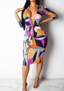 Women's Maxi Dress O-Neck Long Sleeve Floral Printed Casual Swing Midi Dress