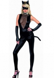 Gothic Punk Rubber Latex Like Zipper Crotch Catsuit Teddy - One Size