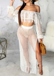 Women Sexy Hollow Off Shoulder Sweater Crop and Maxi Skirt 2 Piece Suit
