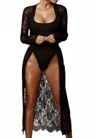 Women Sexy Lace Long Sleeve Open Coat with One Piece Swimwear 2 Piece Suit