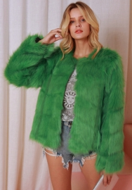 (Estimate Sent out within 3~6 work days) Women's Shaggy Faux Fur Coat Solid Color Long Sleeve Short Jacket