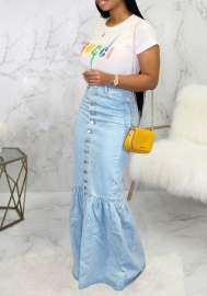 Women Fashion Front Button Jeans Hem Maxi Skirts