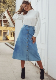 Women Fashion Front Button Jeans Maxi Skirts