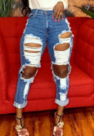 Women Fashion Ripped Jean Long Pants